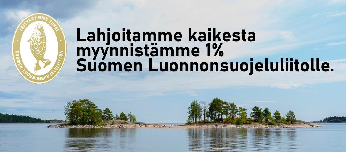 Lahjoitamme kaikesta myynnistämme 1% Suomen Luonnonsuojeluliitolle.